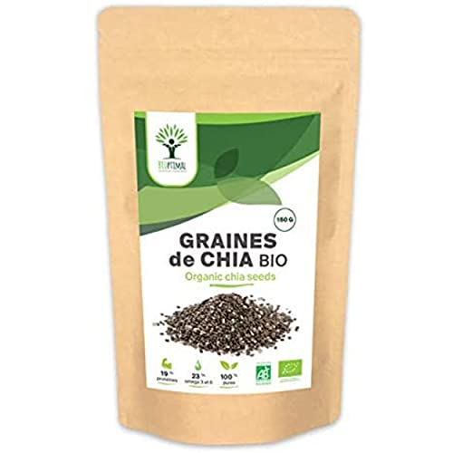 Graines de Chia Bio - Bioptimal - Superaliment - Omega 3 Protéines Calcium Fibres - Digestion Minceur Transit - 100% Graine de Chia Premium Crue - Conditionné en France - Certifié par Ecocert - 150 g
