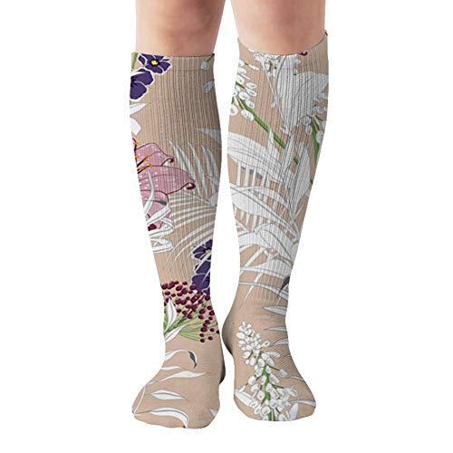 Jesse Tobias Hermosas flores de jardín sin terminar, contorno, calcetines de compresión florales a mano, el mejor producto médico para correr, volar atlético, viajar, circulación, recuperación