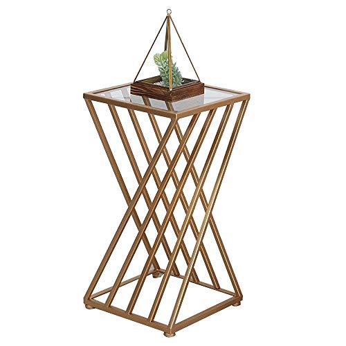 Home&Selected bijzettafel van gehard glas, voor woonkamer, ruimte, hoekbank, salontafel, nachtkastje, 15,7 x 15,7 x 24,8 inch (kleur: goud)