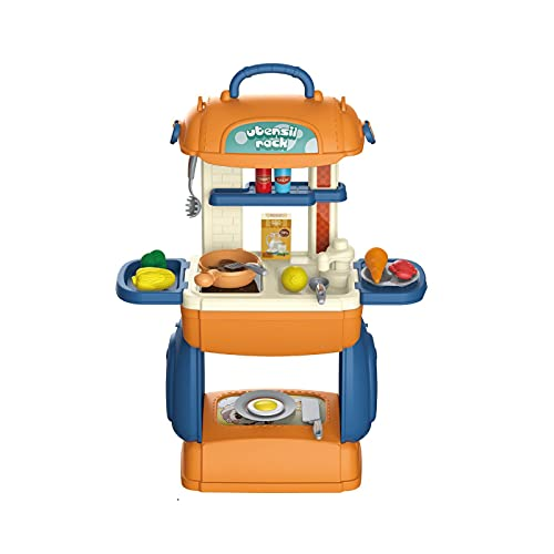 Mini Play Kitchen Makeup Table Sets,Kitchen Dressing Set Game Children Dress Up Play House Toys,Pretend Kitchen Accessories Set,Funny Messenger Bag Pretend Toys Gift for Boy and Girls