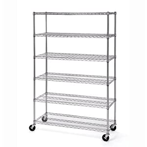"""Seville Classics UltraDurable Commercial-Grade 6-Tier NSF-Certified Steel Wire Shelving with Wheels, 48"""" W x 18"""" D x 72"""" H, Chrome, x x"""