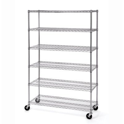 Seville Classics UltraDurable Commercial-Grade 6-Tier NSF-Certified Steel Wire Shelving with Wheels, 48' W x 18' D x 72' H, Chrome, x x
