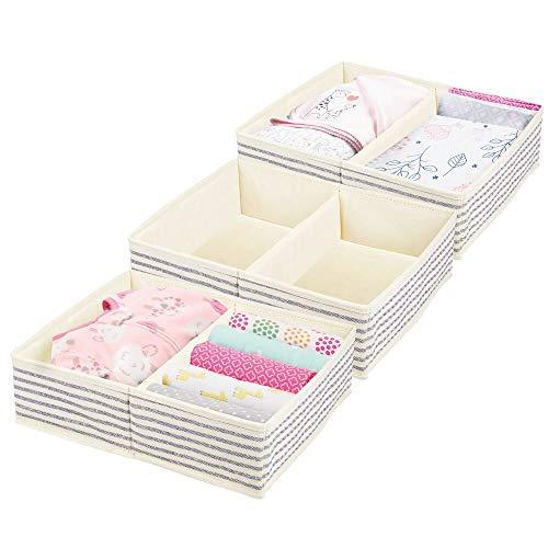 mDesign Large Soft Fabric Dresser Drawer and Closet Storage Organizer Set for Baby Room/Nursery, Child, Kids, Girls, Boys Clothes - 2 Section Organizer - 3 Pack - Natural/Cobalt Blue