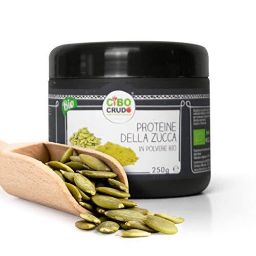 CiboCrudo Proteine della Zucca in Polvere Bio Crude, Raw Organic Powder, Ideale Come Polvere Proteica Vegetale e Vegana, 65% di Proteine e 11% di Fibre – 250 ml