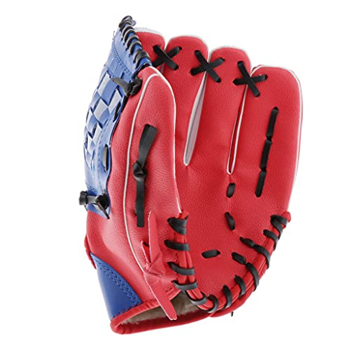 Simhoa Premium PU Leather Baseball Pitcher Gloves Thrower Mitt for Kids Teens Adult - Red, 12.5 inch