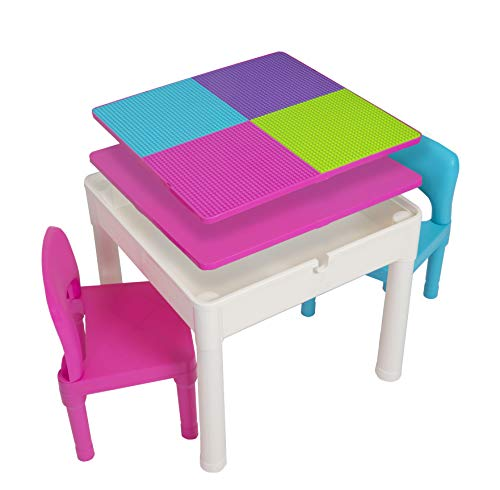 Kids Activity Table Set - 5 in 1 Water Table, Building Block Table, Craft Table and Sensory Table with Storage - Includes 2 Chairs and 25 Ex-Large Blocks – Pastel Colors