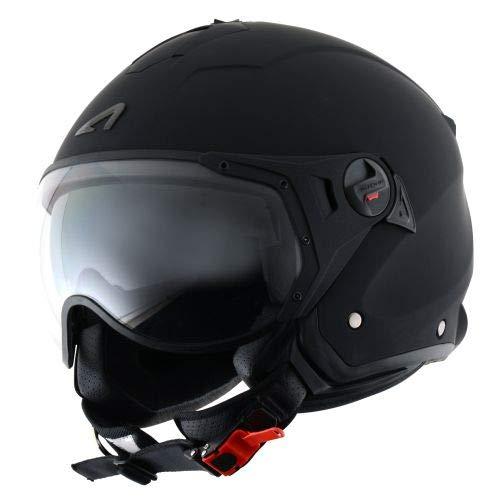Astone Helmets - MINIJET S SPORT monocolor - Casque jet compact - Casque de moto look sport - Casque de scooter mixte - Casque en polycarbonate - Matt black S