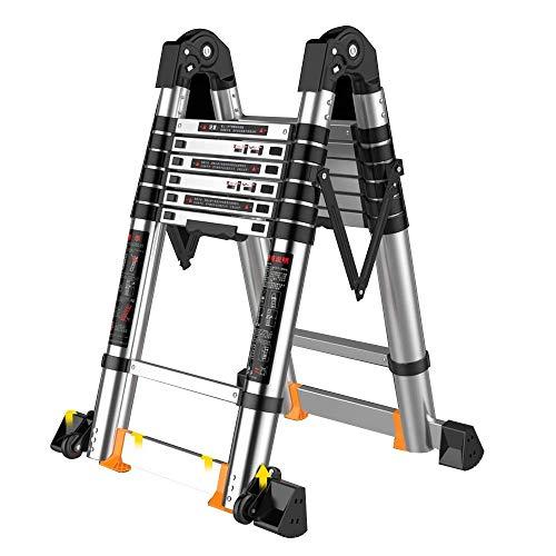 Escalera Telescópica de Aluminio LJGMTZ, Escalera Plegable Escalera Multipropósito, Ascensor Doméstico, Escalera Conductora de Techo Portátil, Capacidad de Carga 330 Lbs (Tamaño: 3.7 + 3.7M = 7.4M (24.2FT))