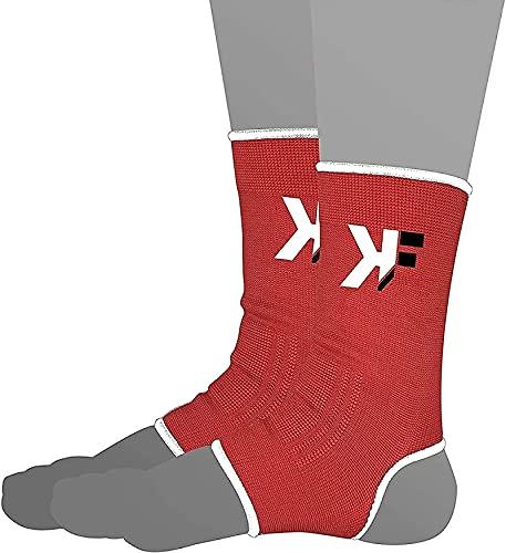 KIKFIT Supporto per caviglia elastico regolabile Compressione per piede manica per caviglie deboli, corsa, dolori articolari, tendinite di Achille, MMA rosse (rosso, singolo - S/M)