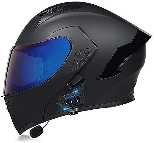 Bluetooth Integrated Motorcycle Helmets, DOT Approved Flip Up Modular Full Face Crash Helmet, Dual Sun Visor Off-Road Helmet for Men and Women Scooter 5,XXL=63-64CM