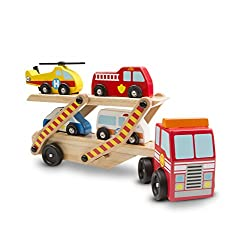 Wooden play set with a two-level tractor trailer that picks up and delivers four emergency vehicles Includes vehicle carrier, helicopter, fire engine, police car, and ambulance Upper level extends to make truck nearly 61 centimetres long and to allow...