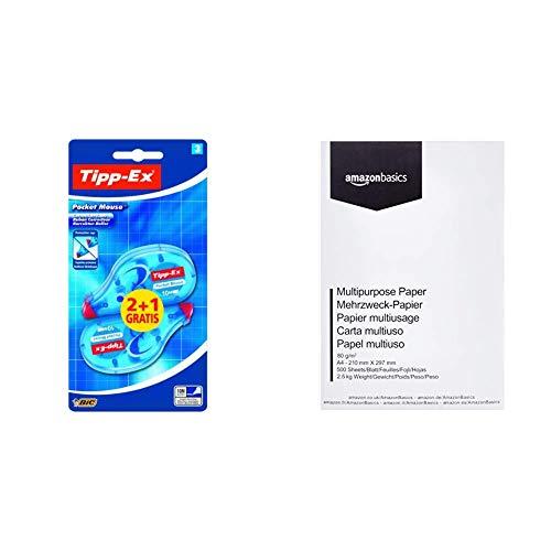 Tipp-Ex - Cinta correctora (3 unidades) & AmazonBasics Papel