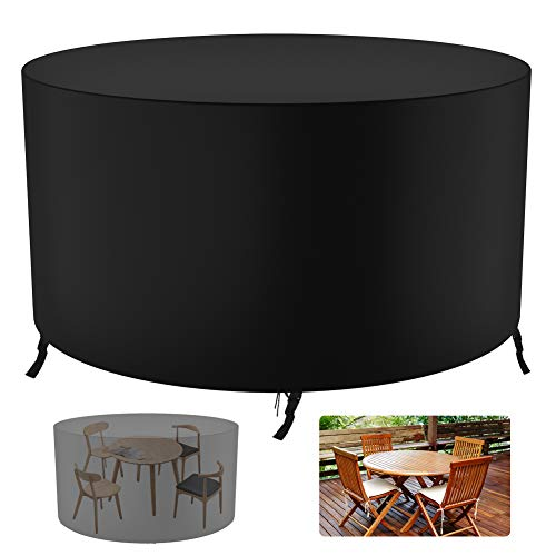 Garden Furniture Covers - Upgrade Patio Table Cover,420D Heavy Duty Oxford Fabric Rattan Furniture Cover with 4 Windproof Buckles,Waterproof Windproof & Anti-UV Outdoor Garden Cover 128x71CM(Black)