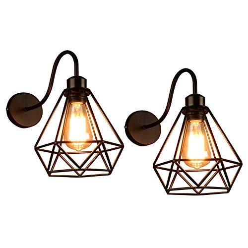 2 Pack Wandlampe Vintage Wandleuchte Schwarz Metall Deckenleuchte E27 Industrial Retro Hängeleuchte für Schlafzimmer Wohnzimmer Esstisch