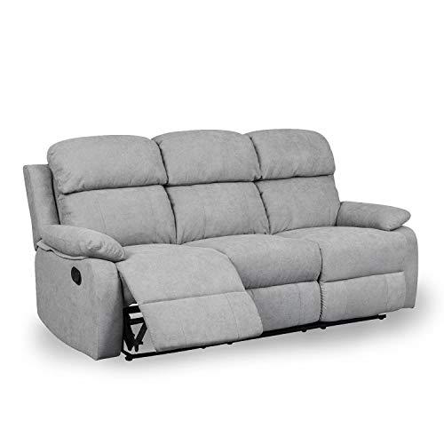 DecoInParis - Sofá Relax de 3 plazas de tela Keaton (gris)