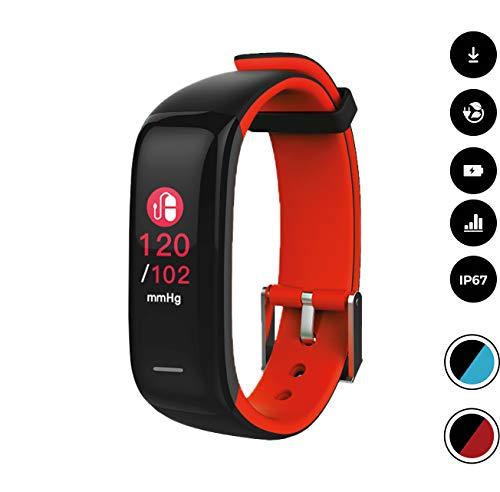 novasmart - Reloj deportivo runR II con correa inteligente y pantalla en color, con registro de frecuencia cardíaca y presión arterial, contador de calorías y pasos, y control del sueño, negro/r