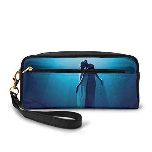 Pencil Case Pen Bag Pouch Stationary,Mermaid in Deep Water Swimming Up to The Surface Sunlight Rays Picture Ocean Theme,Small Makeup Bag Coin Purse