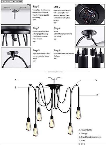 Oursun Kronleuchter Industrie Pendelleuchte Vintage Retro Spinne Lampe Hängend Deckenleuchte Hängelampe Pendellampe für Schlafzimmer Wohnzimmer Esszimmer (8 lights) - 7