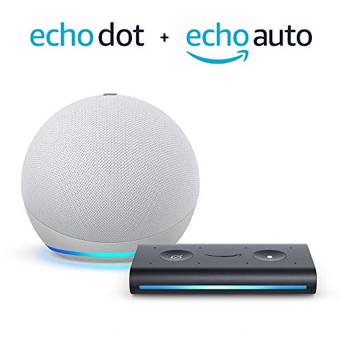 All-new Echo Dot (4th Gen) + Echo Auto | Glacier White