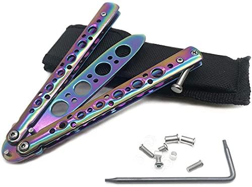 Rainbow Butterfly Messer, Ungeschärfte Klinge Übungs Trainings Butterfly Balisong Knife Trainer Inklusive Aufbewahrungstasche und Zubehör