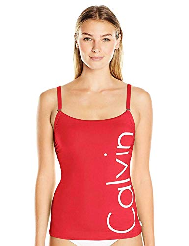 Calvin Klein Women's Over The Shoulder Tankini Swimsuit, Red/Ginger, X-Small