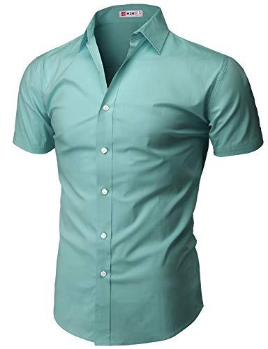 H2H Mens Casual Slim Fit Short Sleeve Shirts Mint US L/Asia XL (KMTSTS0132)