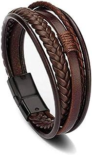Goodern Multilayer Brown Leather Bracelet For Men Leather Bangles Magnetic-Clasp Braided Multi-Layer Wrap Mens Bracelet