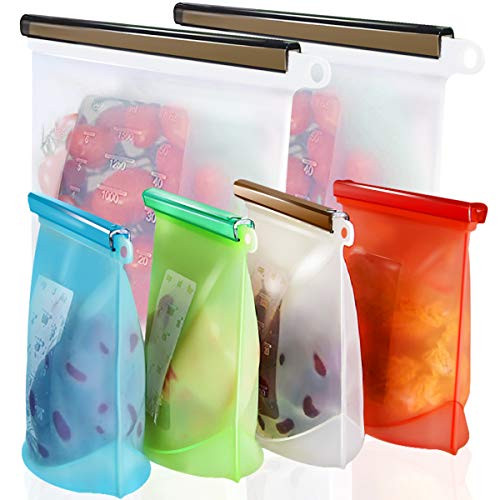 Reusable Silicone Food Storage Bags,WOHOME Airtight Seal Food Preservation Bags/Food Grade/Versatile...