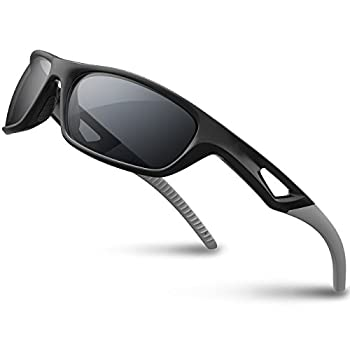 RIVBOS Polarized Sports Sunglasses Driving Sun Glasses Shades for Men Women Tr90 Frame for Cycling Baseball Running Rb831 Black&Grey Large