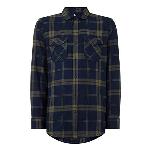 O'NEILL LM Check Flannel Shirt Camisa Hombre, Green AOP, L