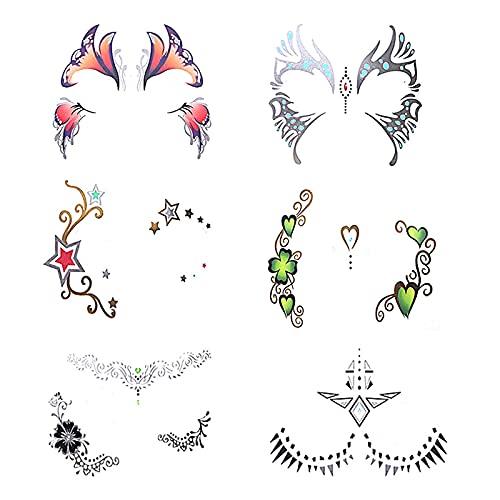 Pinkiou Autocollants pour l'art du visage Les femmes font face à l'oeil Autocollants imperméables Festival de tatouage temporaire (6 pièces)