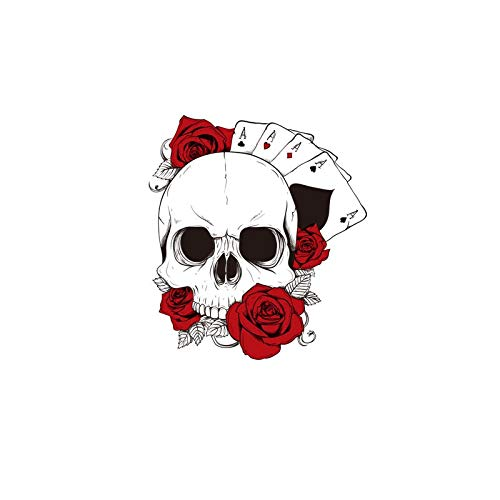 Car Personalizada Sticker Decal Moda cráneo de póker Etiquetas engomadas del Coche calcomanías de Coches y Rosas Rojas 16cm * 14cm Impermeable 2pcs (Color : 1)