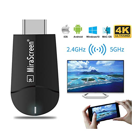 [Upgraded] MiraScreen Wireless Display Adapter Miracast Airplay Streaming Media HDMI Receiver TV Stick 1080P H.265 Decoding Dual Core 1.6G No Modes Switching (5G-MiraScreen K6)