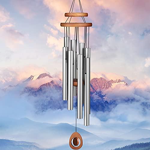Homemaxs Windspiele für draußen große Tiefe Töne, 38 Zoll große Gedenkwindspiele mit 8 Röhren und drehbaren DIY-Anhängern, Windspiele für draußen Garten Patio Dekor (Silber)