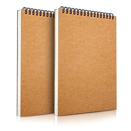 Mamowla Album da Disegno A5 Sketchbook, Rilegatura a Spirale Blocco da Disegno con Durevole Pannello Rigido, 160 GSM Album Disegno Blocco Disegno con Acido Libero Carta da Disegno 60 Pagine