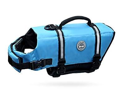 Vivaglory Ripstop Dog Life Vest, Reflective & Adjustable Pet Life Jacket with Enhanced Buoyancy & Rescue Handle, Blue, XS