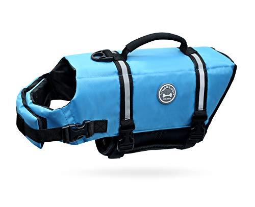Vivaglory Ripstop Dog Life Vest, Reflective & Adjustable Pet Life Jacket with Enhanced Buoyancy &...