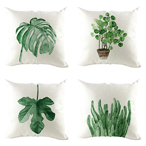 KPWHJT Pillowcase, Front and Back Double-sided Palm Leaf Green Plant Pillowcase, Can Be Used In Home Living Room, Bedroom 45 X 45 Cm, Without Pillow (Palm leaves E)