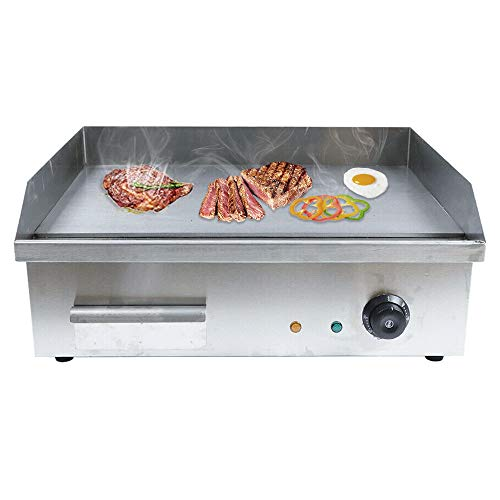 Electric Countertop Griddle, 3000W Commercial Heavy Duty Restaurant Tabletop Flat Top Grill Machine Adjustable Temperature Control with US Plug