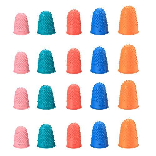 20 almohadillas de goma para las yemas de los dedos, protectores de dedos reutilizables,...