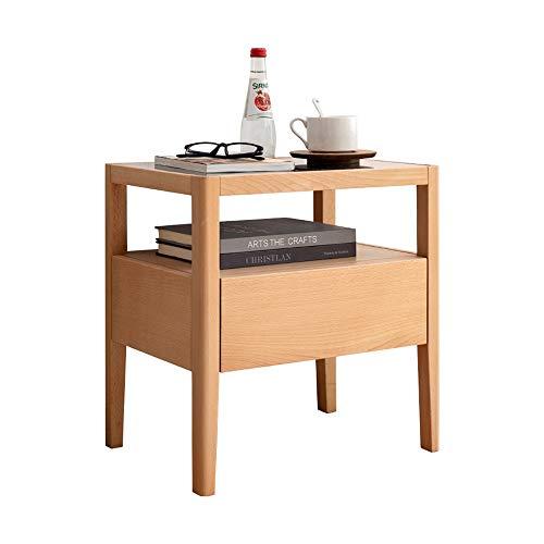 LIANG Solid Wood 2-Tier Sofa Side Oak PEQUEÑO TABLEA DE CAFÉ Tabla DE Almacenamiento Pantalla DE Almacenamiento DE Almacenamiento con CAJÓN DE Alta Capacidad