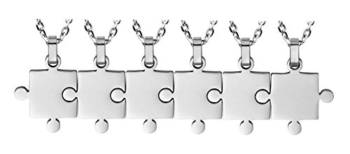 6 Piece Puzzle Necklace Friendship - Women Men Stainless Steel Pendant Silver Tone Jewelry