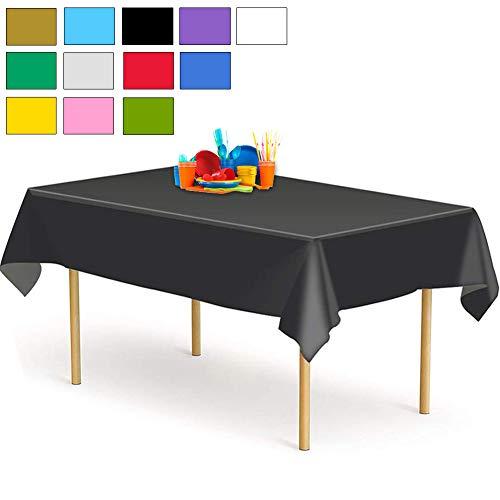 YANGTE Einweg Tischdecke aus Kunststoff 4 Stück,Schwarz Plastik Tischtuch Rechteck 137x274cm für Tische im Indoor und Outdoor Partys, Garten, Geburtstage, Hochzeiten, Weihnachten