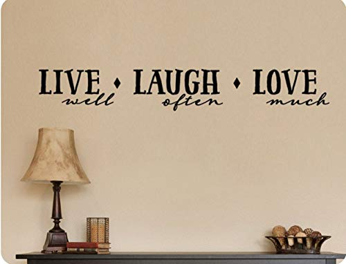 Adhesivo decorativo para pared, diseño con texto 'Live Well Laugh Often Love Much with Embelishments'