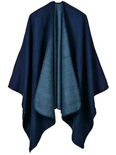 Aivtalk - Mujer Chal de Lana de Invierno Capa de Punto Gran Tamaño Estilo Casual Simple Poncho Cárdigan Abrigo Manta para Mujer 130 x 150 CM - Azul Marino