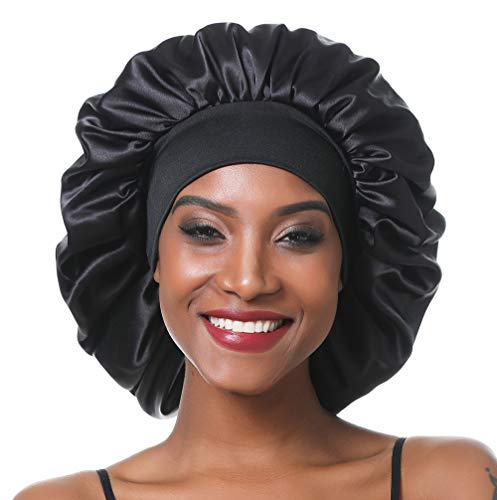 SENGTERM Bonnet de Nuit en Satin élastique à Large bande pour Femme,Cheveux Longs, Cheveux Bouclés (L, black)