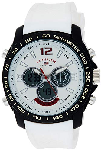 U.S. Polo Assn. Sport Men's Quartz Metal and Rubber Casual Watch, Color:White (Model: US9556)