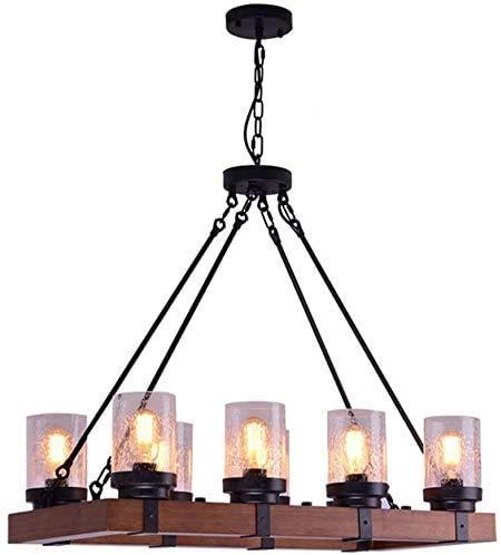 LLT Hermosa Lámpara Colgante Lámpara Colgante Lámpara de Granja de Madera Araña de Metal Industrial Rústico Durante la Luz, Loft Antiguo Durante la Lámpara Sombra de Cristal, Accesorios de la Luz de