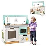 COSTWAY 2 in 1 Kinderküche und Restaurant, doppelseitiges Rollenspiel Set, Spielküche mit Spüle, Herd, Mikrowelle, Ofen & Aufbewahrungsregalen, Kinderspielküche, Spielzeugküche für Kleinkinder