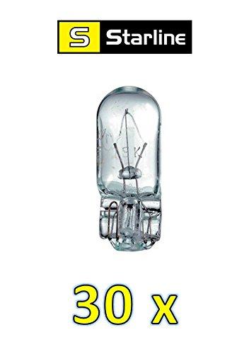 PRAKTISCHES Set! (0,45EUR/STK) 30 x GLASSOCKELLAMPEN W5W 12V 5W W2,1 x 9,5d STANDLICHT POSITIONSLICHT